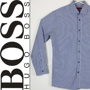 Hugo Boss Mens Size 15.5 Checks Blue long Sleeve